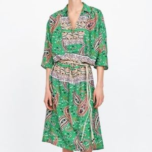 Zara Green Dress Kimono Sleeves